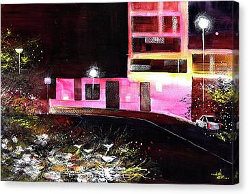 Canvas Print featuring the painting Night Walk by Anil Nene