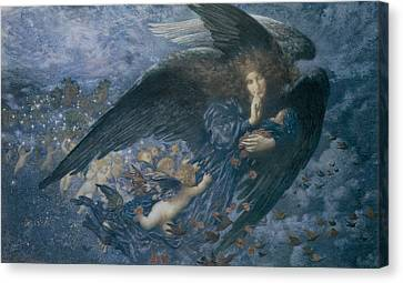 Night With Her Train Of Stars Canvas Print by Edward Robert Hughes