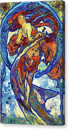 Night Woman Van Gogh Style Abstract Canvas Print by Georgiana Romanovna