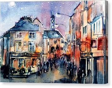 Canvas Print featuring the painting Nightfall. High St. Kilkenny City  Ireland  by Trudi Doyle