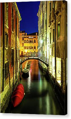 Historic Architecture Canvas Print - Nightfall In Venice by Andrew Soundarajan