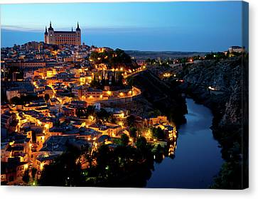 Canvas Print featuring the photograph Nightfall Over Toledo by Harry Spitz