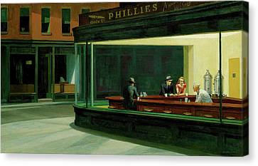 Canvas Print featuring the painting Nighthawks by Artist A