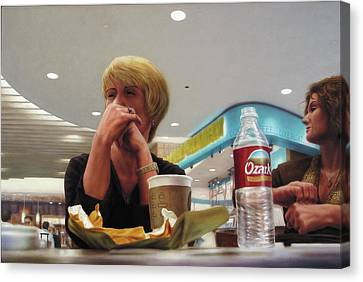 Nighthawks At The Foodcourt Canvas Print by James W Johnson