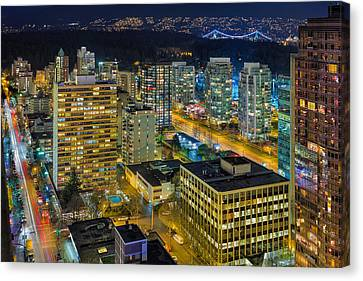 Nightlife On The Other End Of Robson Street Canvas Print by David Gn