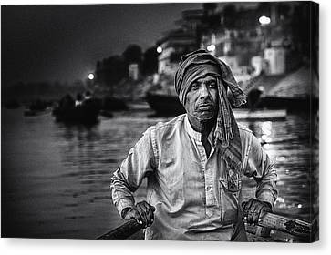 Nights On The Ganges Canvas Print by Piet Flour
