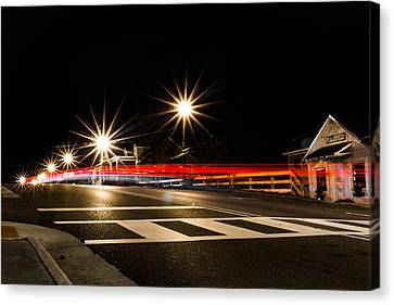 Nightscape In The Town Canvas Print by Shelby Young