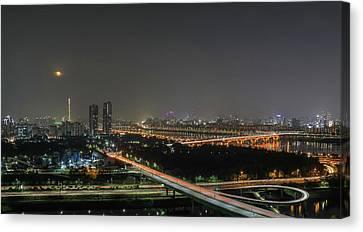 Night-scape Canvas Print - Nightscape Of Seoul by Hyuntae Kim