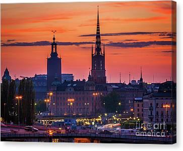 Streetlight Canvas Print - Nightsky Over Stockholm by Inge Johnsson