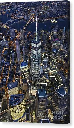 Nighttime Aerial View Of 1 Wtc Canvas Print