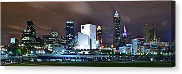 Nighttime At The Lakefront Canvas Print by Frozen in Time Fine Art Photography