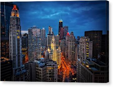Nighttime Downtown Chicago Cityscape Canvas Print by Jennifer Rondinelli Reilly - Fine Art Photography