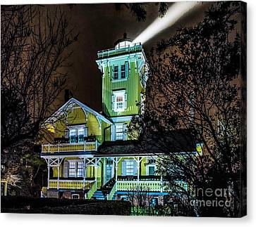 Canvas Print featuring the photograph Nighttime Fog At Hereford Inlet by Nick Zelinsky