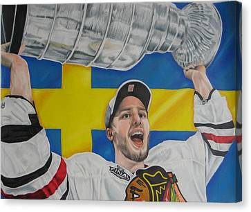 Niklas Hjalmarsson With Cup Canvas Print by Brian Schuster