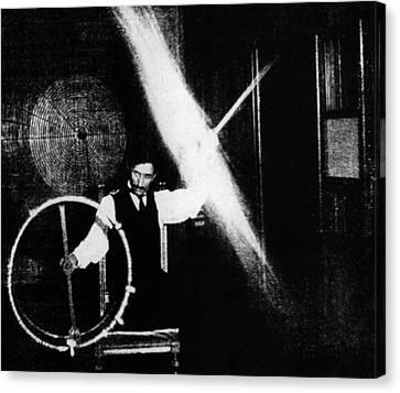 Nikola Tesla 1856-1943 Conducted Canvas Print by Everett