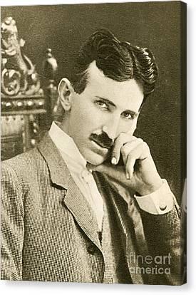 Serbian Canvas Print - Nikola Tesla, Serbian-american Inventor by Photo Researchers