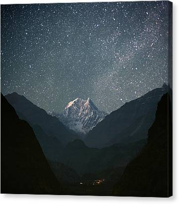 Night Canvas Print - Nilgiri South (6839 M) by Anton Jankovoy