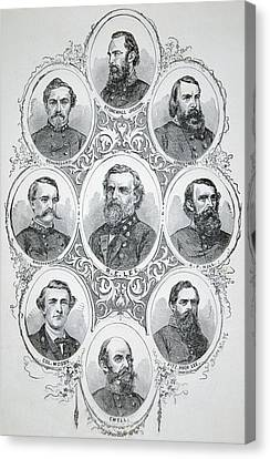 Nine Portraits Of Prominent Generals Of Confederate Army Canvas Print