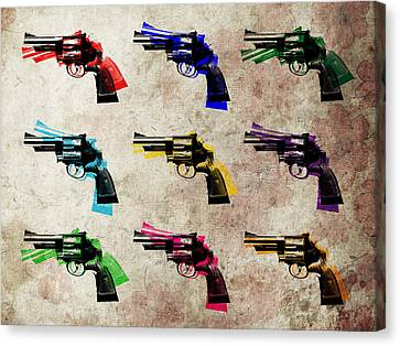 Pistol Canvas Print - Nine Revolvers by Michael Tompsett
