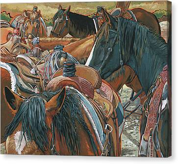 Canvas Print featuring the painting Nine Saddled by Nadi Spencer