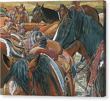 Nine Saddled Canvas Print by Nadi Spencer