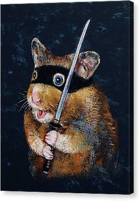 Ninja Hamster Canvas Print by Michael Creese