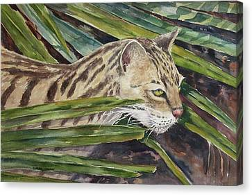 Canvas Print featuring the painting Nirvana - Ocelot by Roxanne Tobaison