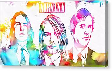 Nirvana Watercolor Paint Splatter Canvas Print by Dan Sproul