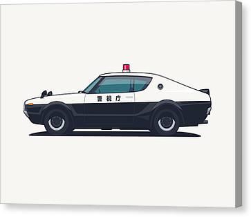 Police Canvas Print - Nissan Skyline Gt-r C110 Japan Police Car by Ivan Krpan