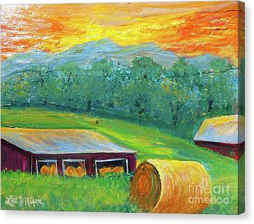 Canvas Print featuring the painting Nixon' Colorful Farm View by Lee Nixon