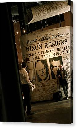 Canvas Print featuring the photograph Nixon Resigns by Kate Purdy