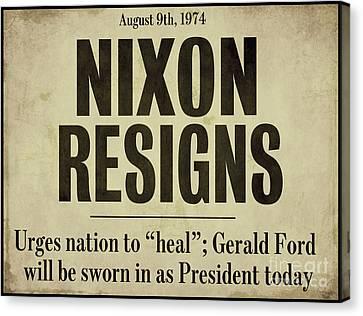 Nixon Resigns Newspaper Headline Canvas Print by Mindy Sommers