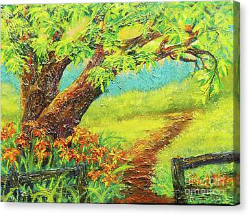 Canvas Print featuring the painting Nixon's A Fence Side View Of Old Rapidan Road by Lee Nixon