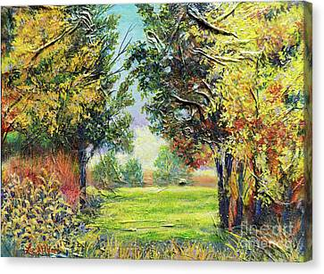 Canvas Print featuring the painting Nixon's A Tranquil Morning View by Lee Nixon