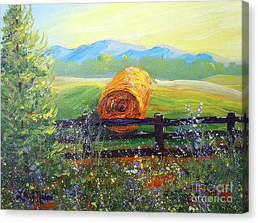 Canvas Print featuring the painting Nixon's Farm View Of Paradise by Lee Nixon