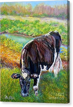 Canvas Print featuring the painting Nixon's Grazing In The Sun by Lee Nixon