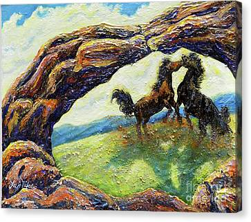 Canvas Print featuring the painting Nixon's Horsing Around by Lee Nixon
