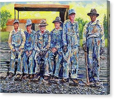 Canvas Print featuring the painting Nixon's Keepers Of The Railroad by Lee Nixon