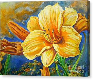Canvas Print featuring the painting Nixon's Lily Of The Sunshine by Lee Nixon