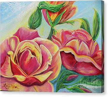 Canvas Print featuring the painting Nixon's Lovely Roses by Lee Nixon