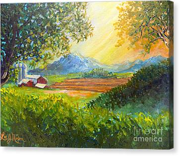 Canvas Print featuring the painting Nixon's Majestic Farm View by Lee Nixon