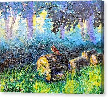 Canvas Print featuring the painting Nixon's  Red Bird In The Forest by Lee Nixon