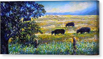 Canvas Print featuring the painting Nixon's Three Plus One Out To Pasture by Lee Nixon