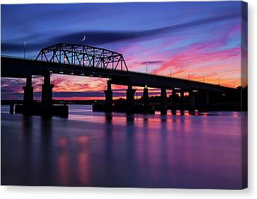 Canvas Print featuring the photograph Nj Meadowlands Sunset  by Susan Candelario