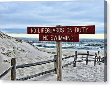 No Lifeguards On Duty Canvas Print by Paul Ward