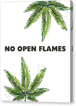 Canvas Print featuring the mixed media No Open Flames Sign- Art By Linda Woods by Linda Woods