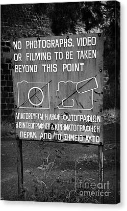 no photography warning sign for restricted area of the UN buffer zone in the green line nicosia Canvas Print