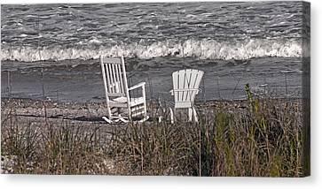 Adirondack Chairs On The Beach Canvas Print - No Rush To Be Anywhere Anytime Soon by Betsy Knapp