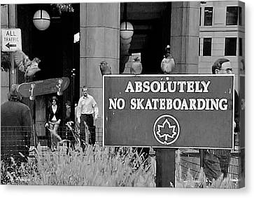 Breaking Rules Canvas Print - No Skateboarding by Brian Wallace