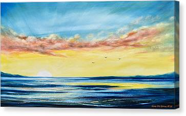 No Stress - Panoramic Sunset Painting Canvas Print by Gina De Gorna
